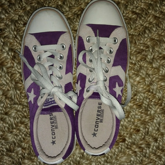 Converse Leather Suede Purple Sneakers Size 8